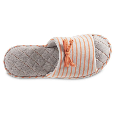 Women's Nani Stripe Slide Slippers in Stormy Grey Top View