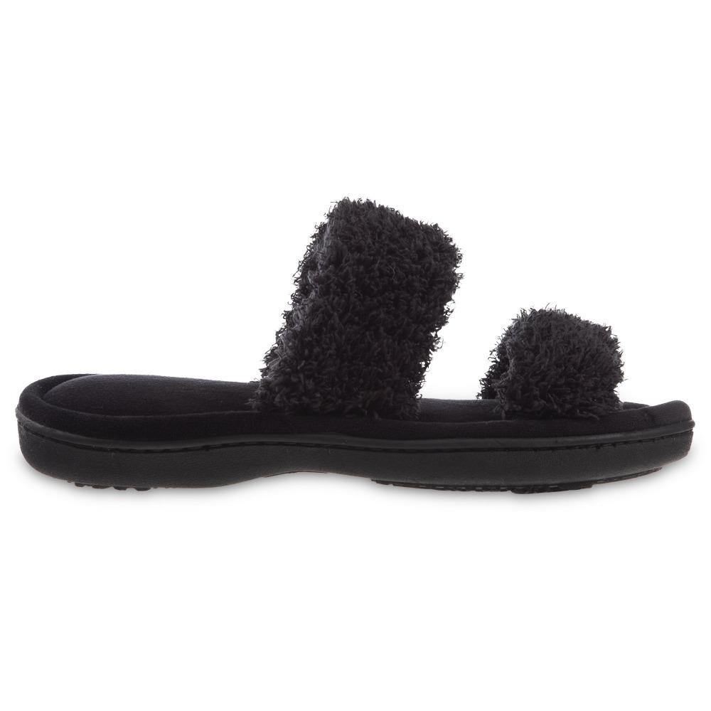 Women's Parker Chenille 2-Band Slide Slippers in Black Side Profile View