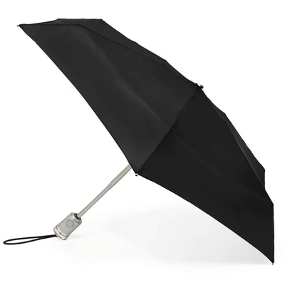 totes Automatic Classic Compact SunGuard and NeverWet Umbrella black side view open