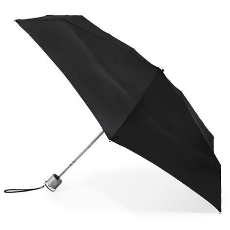totes Manual NeverWet Mini Compact Umbrella black side view open