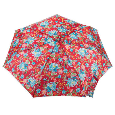 totes Auto Open/Close NeverWet® Compact Umbrella Library Floral top view
