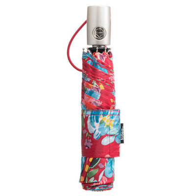 totes Auto Open/Close NeverWet® Compact Umbrella Library Floral  closed view