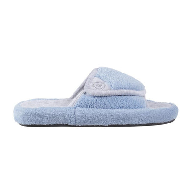Signature Women's Microterry Spa Slide Slippers in Blue Moon Profile View