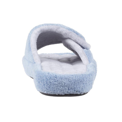 Signature Women's Microterry Spa Slide Slippers Blue Moon Heel View