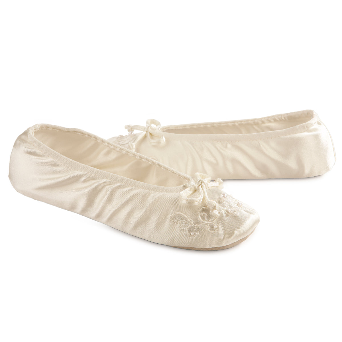 Isotoner Women's Embroidered Pearl Satin Ballerina Slippers