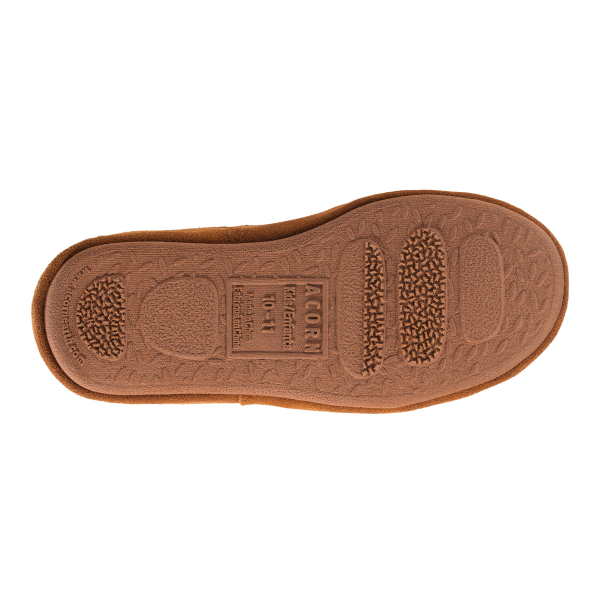 Kid's Original Acorn Moccasins in Buff Popcorn bottom Angled View