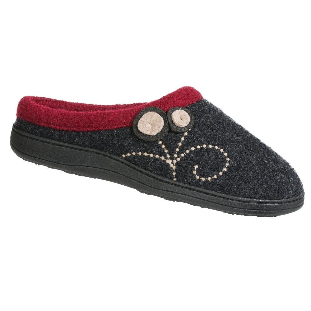 Women's Dara Boiled Wool Slippers in Charcoal Button Right Angled View