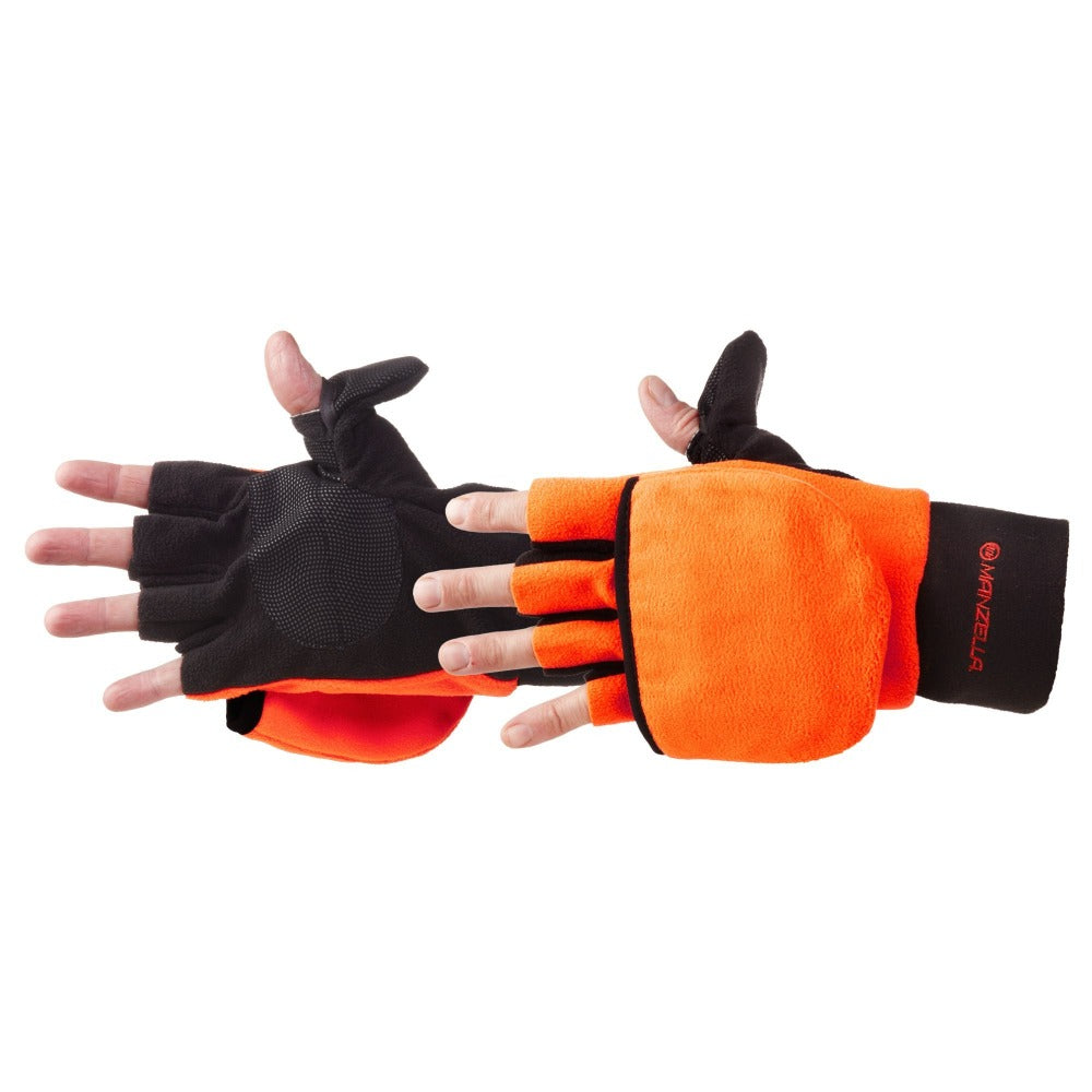 Men's Hunter Convertible Gloves in Blaze Orange Pair Side Profile