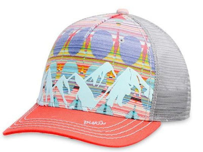 Women's Pistil McKinley Trucker Hat displaying a colorful Mountain with mesh back and adjustable closure in Coral