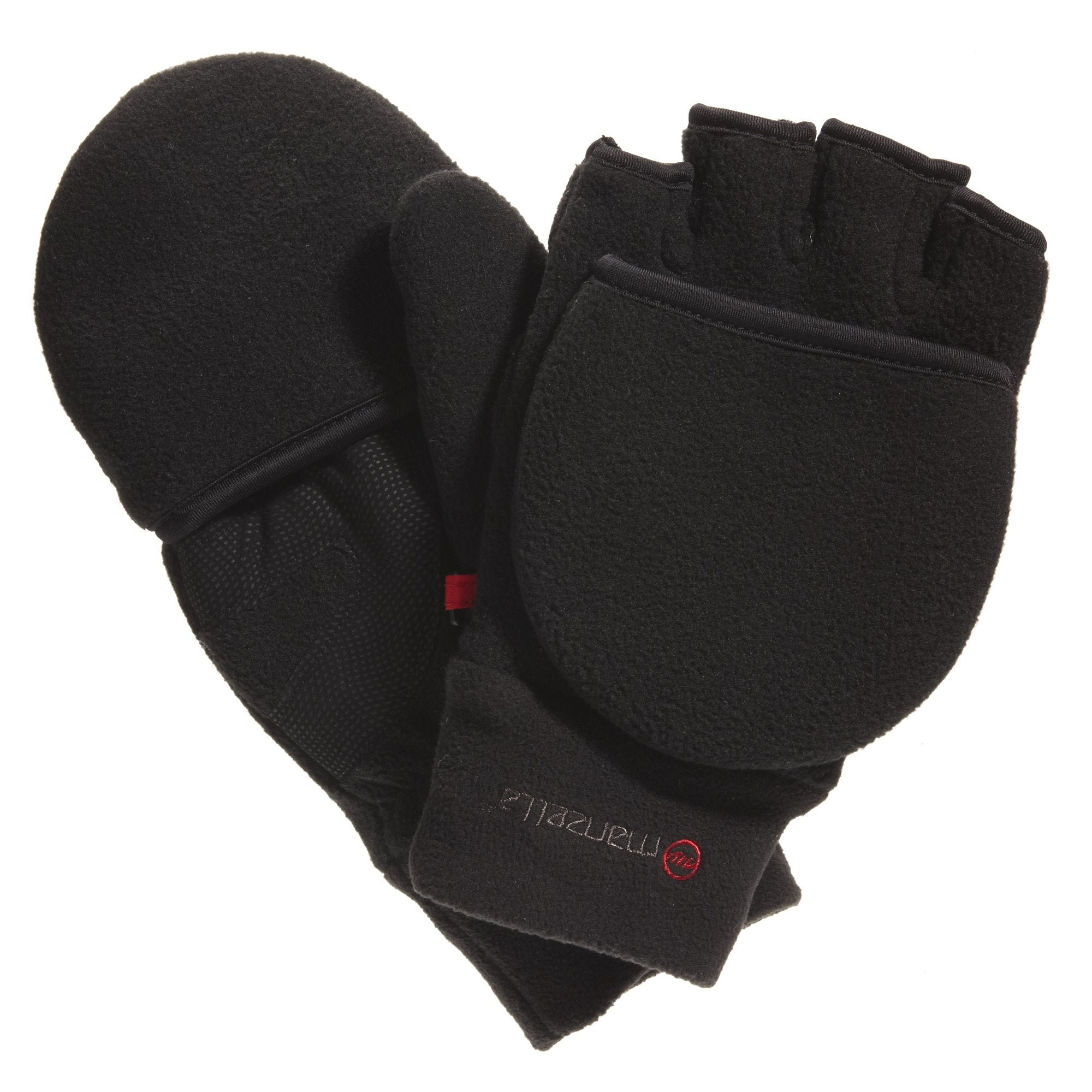 Men's Cascade Convertible Outdoor Gloves in Black Pair Straight On View