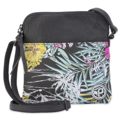 Women's Pistil cross-body bag with floral Aloha pattern canvas at bottom and faux leather on top with adjustable strap