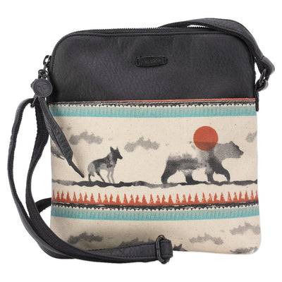 Women's Pistil cross-body bag with animal totem pattern canvas at bottom and faux leather on top with adjustable strap