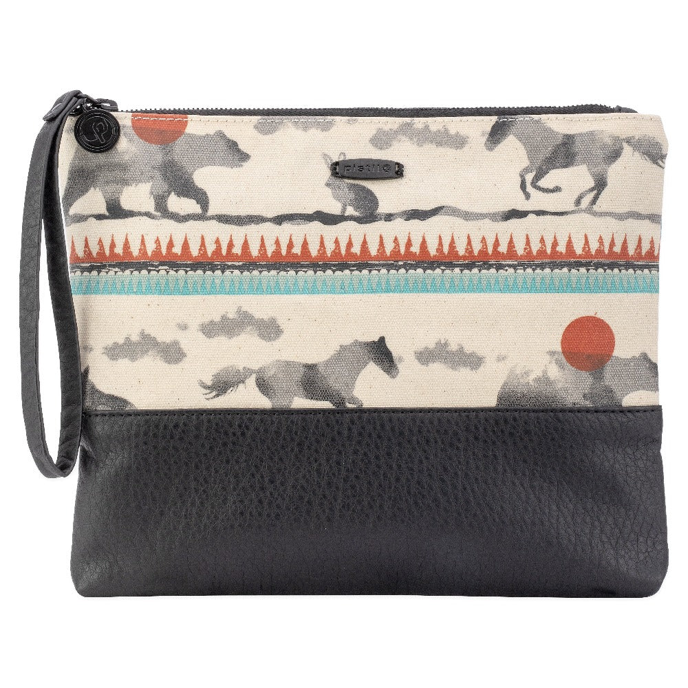 Women's Fold-over Clutch with black bottom and animal print top with zipper closure