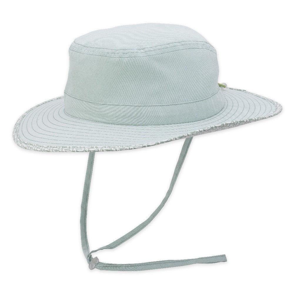 Women's Pistil Lotus Sun Hat with wide brim, pattern trim and adjustable chin cold in Sage