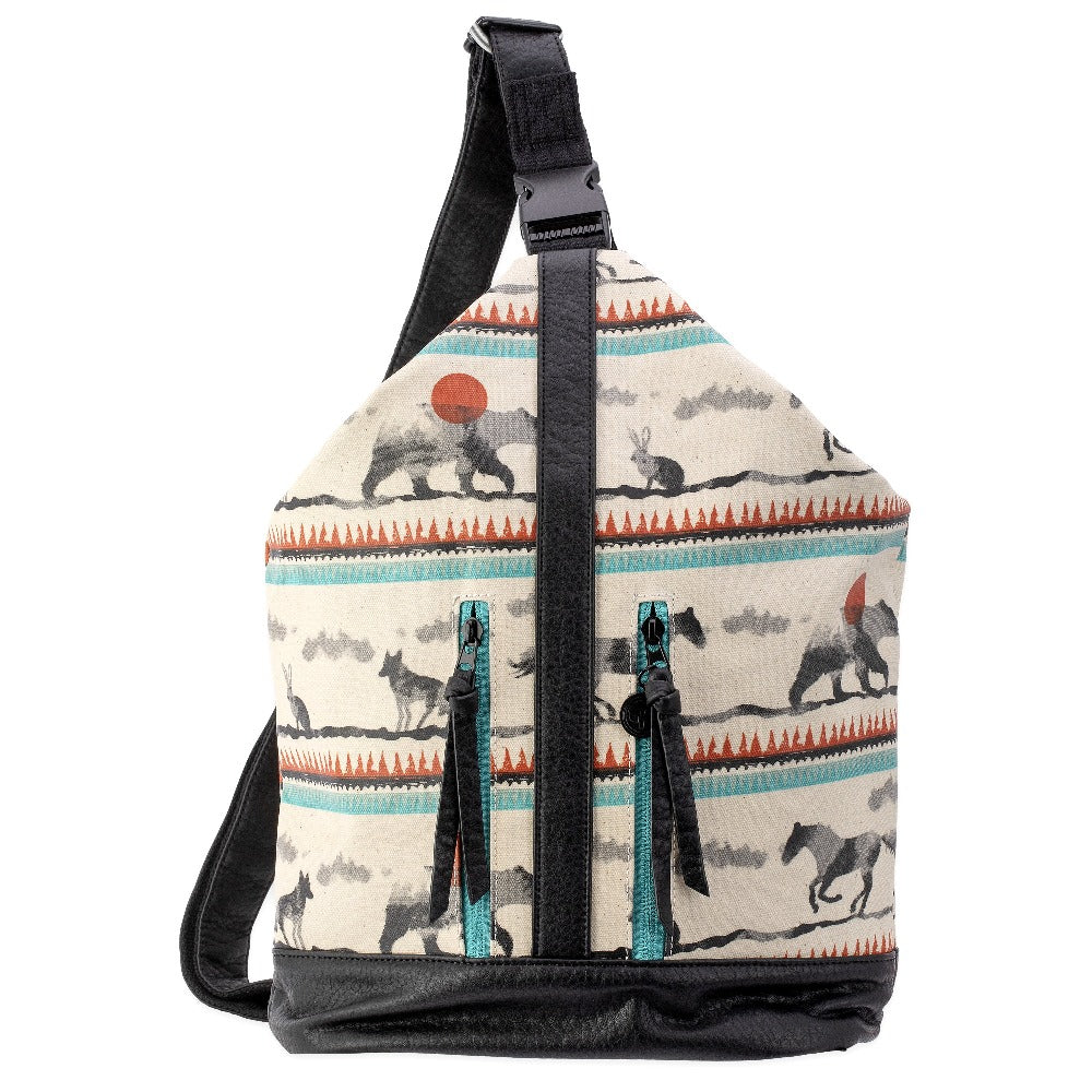 Women's Pistil No Sweat Bag one strap sling bag with black black bottom and animal print canvas with black strap