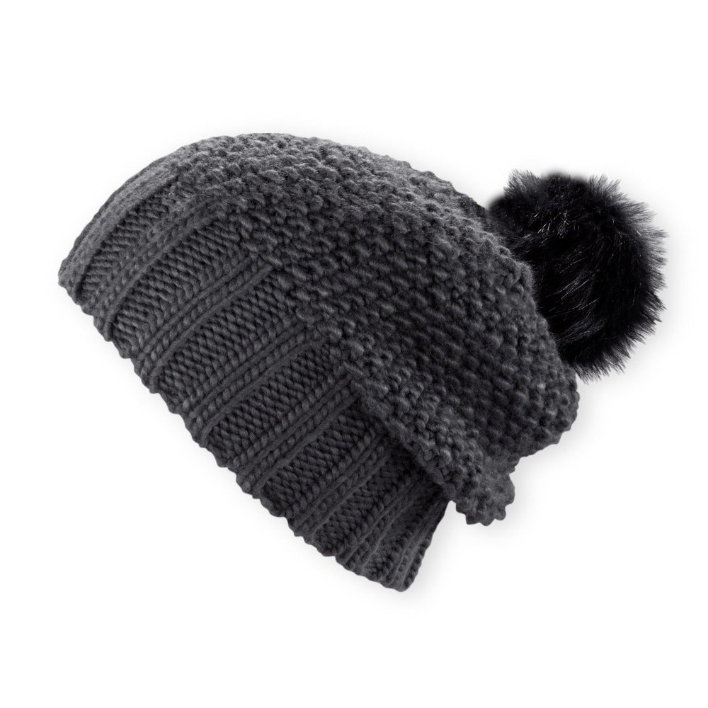 Women's Pistil Juliette Slouch Style Knit Beanie with Pom in black