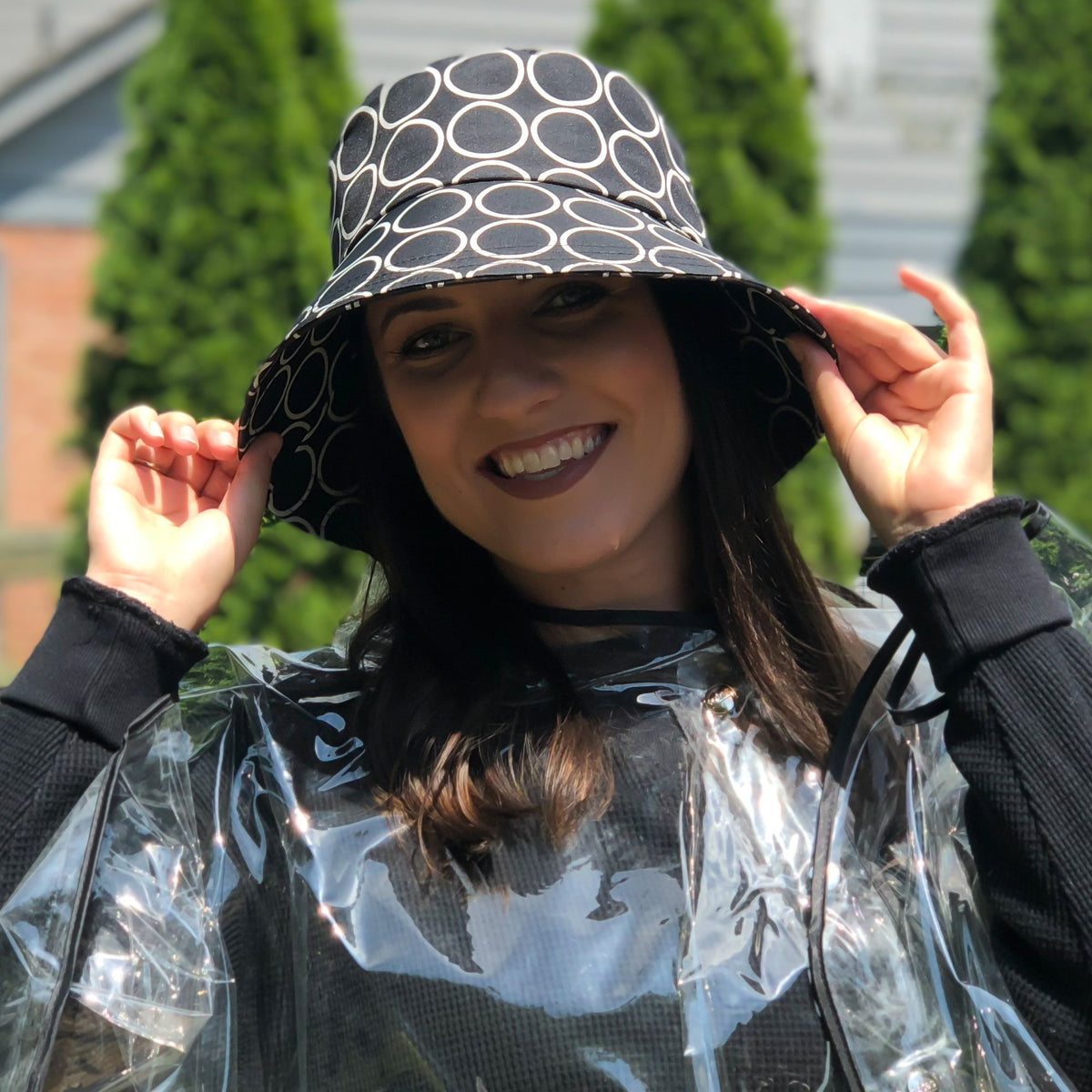 Women's Bow Rain Hat in Metro Dot On Model