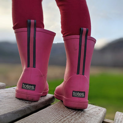 Cirrus™ Toddler's Charley Tall Rain Boot in Rosebloom On Model