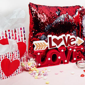 "Gift Bags, LOVE/Heart Reversible Sequin Cushions, ""Love/XOXO"" Arrow MDF Table Décor"