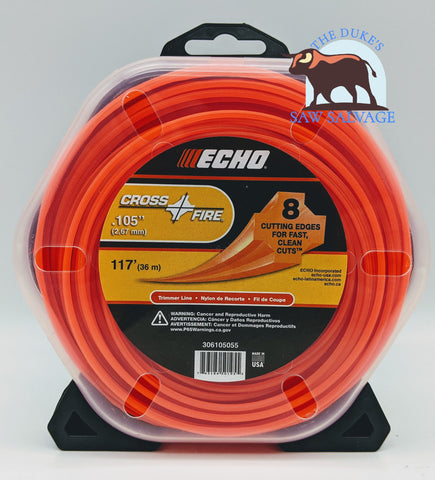 GENUINE ECHO CROSSFIRE TRIMMER LINE .105 1/2 LB PACKAGE - www.SawSalvage.co Traverse Creek Inc.