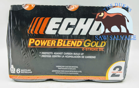 GENUINE ECHO POWER BLEND GOLD 6 PACK, 5.2 OZ BOTTLE 50:1 2 GALLON MIX - www.SawSalvage.co Traverse Creek Inc.
