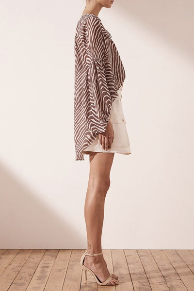 Once Was Gilded Pleated Neck Blouse White & Rose Gold