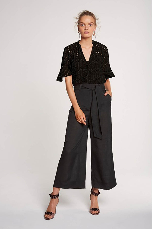 Once Was Leonie Wide Leg Crop Pant with Waist Tie Black