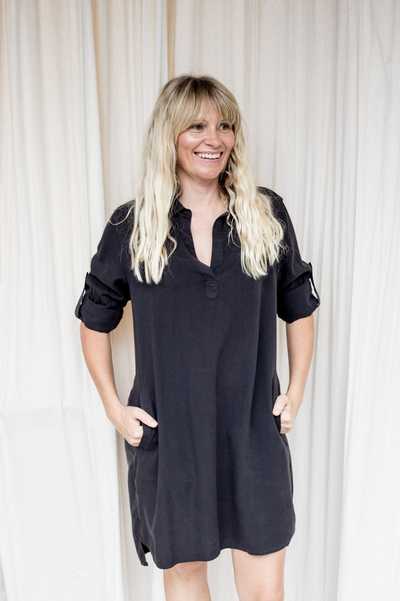 Bella Dahl Black A Line Shirt Dress