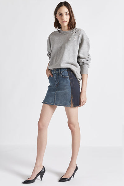 Current Elliott Mashed Mini Denim Skirt