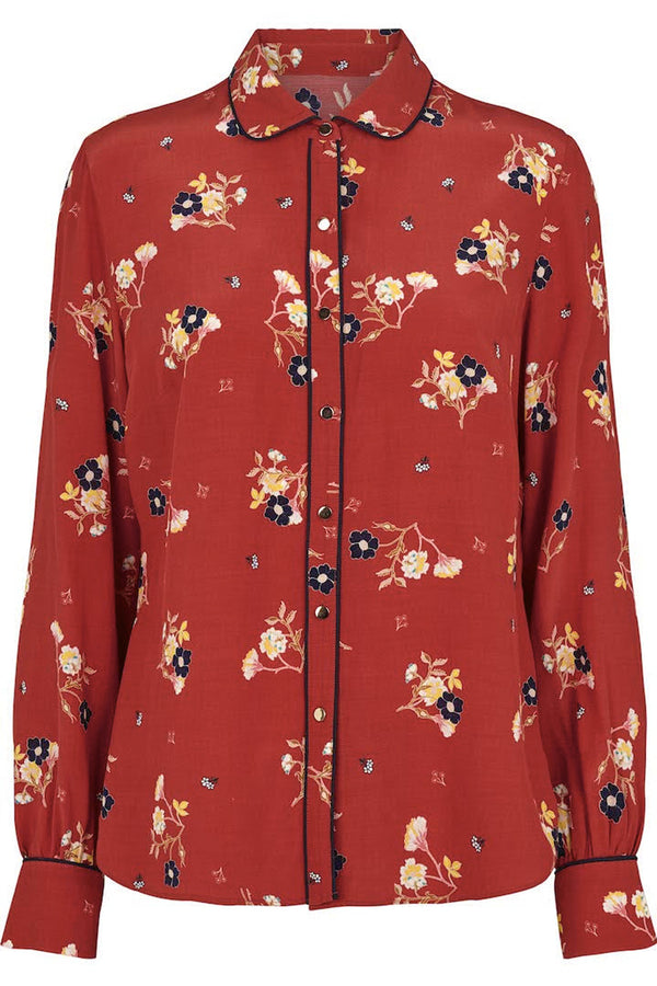 Second Female Velua Red Printed Shirt