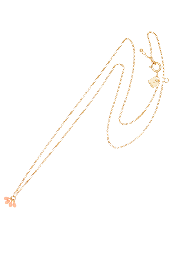 By Charlotte Mermaid Necklace Gold Coral