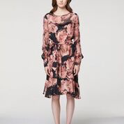 ONCE WAS Members Chiffon Sleeve Cupro Tie Waist Dress - Eden Floral