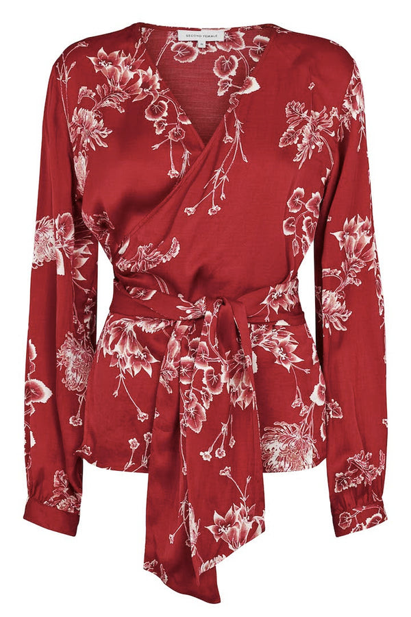 Second Female Vicky Red Printed Wrap Blouse