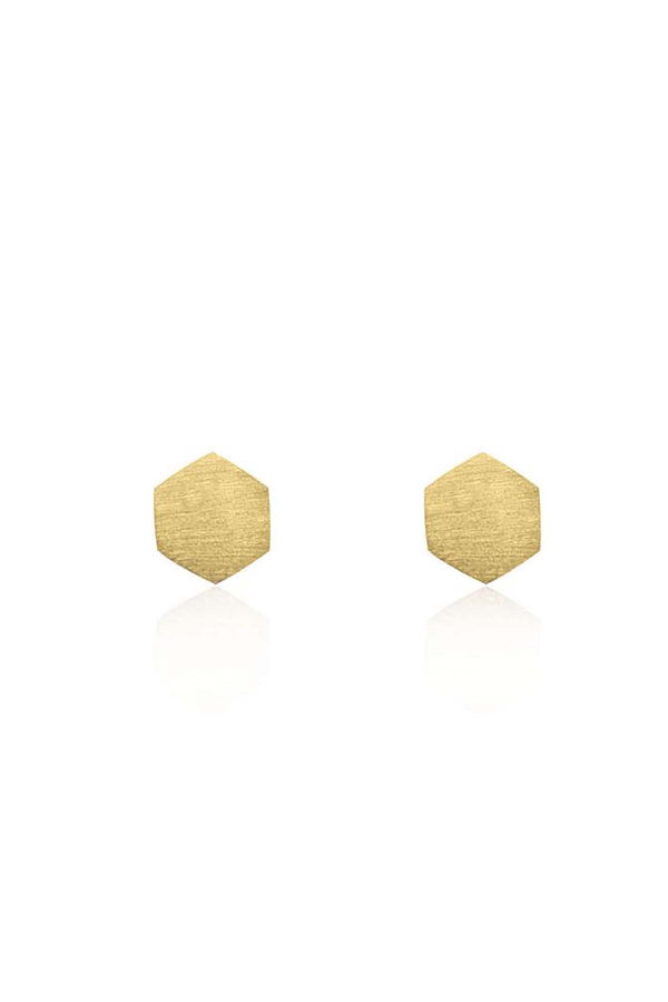 Linda Tahija Hexagon Stud in Yellow Gold