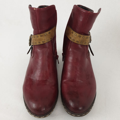 REIKER Red Leather Boots Womens Size 38 RRP $279