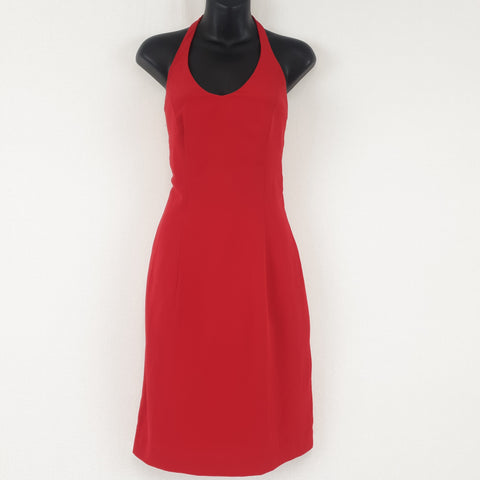 Vintage Style Little Red Halter Neck Dress Womens Size M