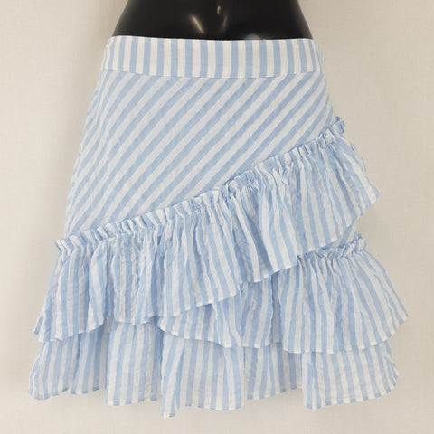 H & M Stripey Frilly Skirt Womens Size EUR 36