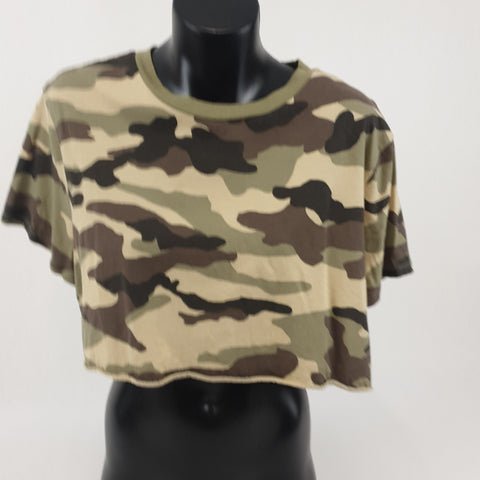 H & M DIVIDED Army Print Midi Tee Womens Size L