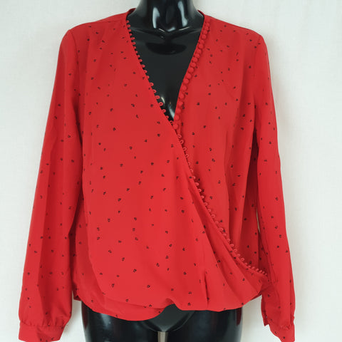 Miss Daisy Love Heart Red Top Womens Size S