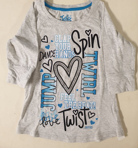 Justice Long Sleeved Top Girls Size 8