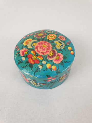 Foral & Aqua Mini Wooden Trinket Box Homewares Decor