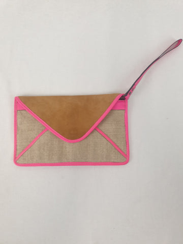 MAISON SCOTCH Leather & Jute Clutch Bag Womens Accessory