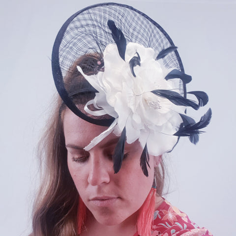 Black & White Floral Fascinator Womens Accessory
