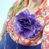 Purple Floral Headpiece or Brooch Womens Accessory