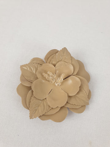 Beige Leather Headpiece or Floral Brooch Womens Accessory