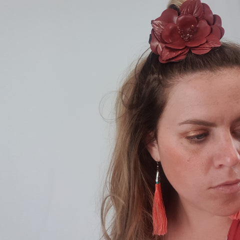 Maroon Leather Brooch or Floral Headpiece Womens Accessory