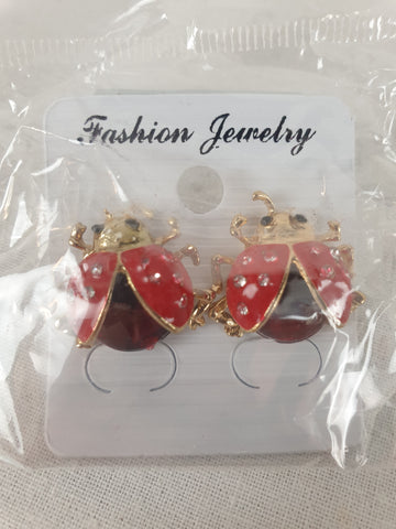 Ladybug Stud Earrings Womens Accessory