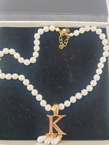 """K"" Pearl White & Gold Necklace Womens Accessory"