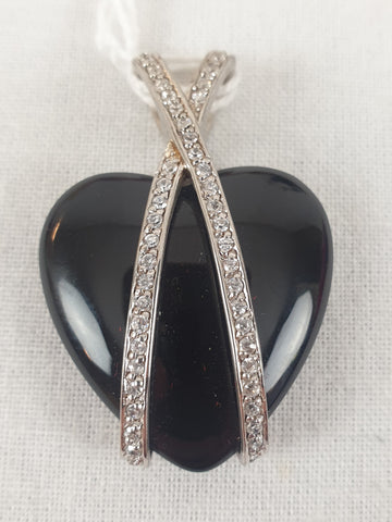 Black Heart & Diamond Pendant (only) Womens Accessory