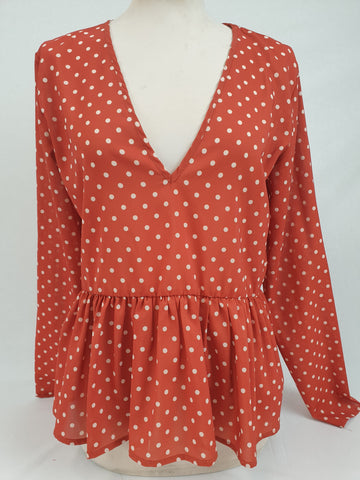 BOOHOO Desert Red Polka Dot Top Womens Size 10